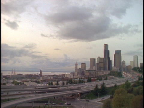 Rain pours on downtown Seattle Stock Video Footage