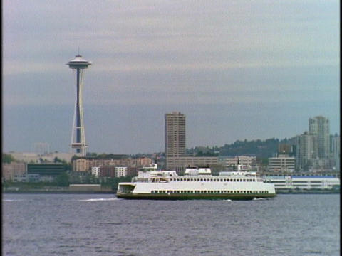 Seattle's Space Needle towers above the harbor Stock Video Footage
