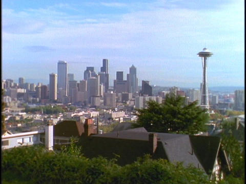 Seattle's Space Needle towers above the skyline Footage