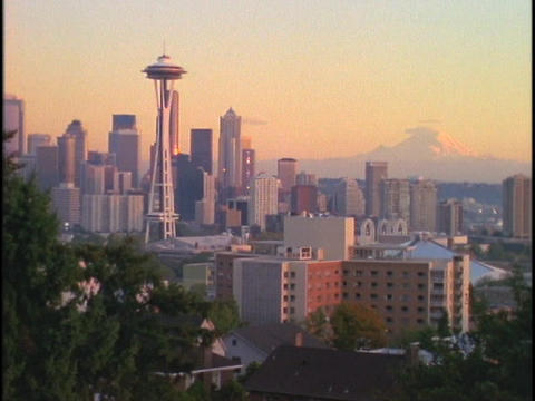 Seattle's Space Needle dominates the city skyline Stock Video Footage