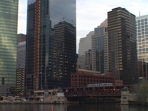 Skyscrapers tower above downtown Chicago Stock Video Footage