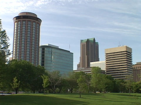 Office buildings and hotels tower over downtown St. Louis Stock Video Footage