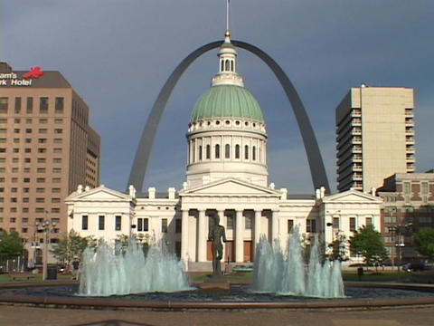 The St. Louis arch rises above the downtown courthouse Footage