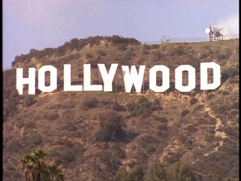 The Hollywood sign adorns the front of the Hollywood Hills Footage