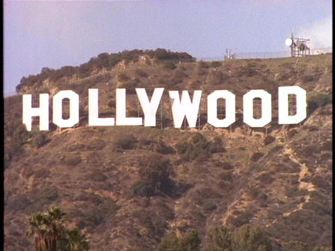The Hollywood sign adorns the front of the Hollywood Hills Stock Video Footage