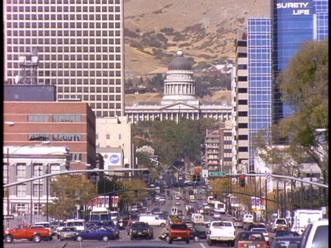 Traffic drives through downtown Salt Lake City Footage