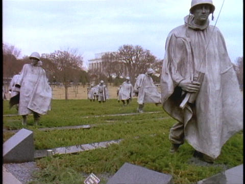 Statues of soldiers make up the Korean War Memorial Footage