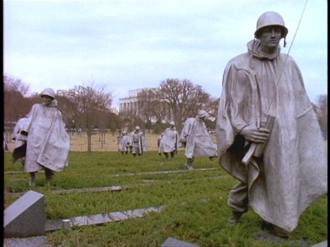 Statues of soldiers make up the Korean War Memorial Stock Video Footage