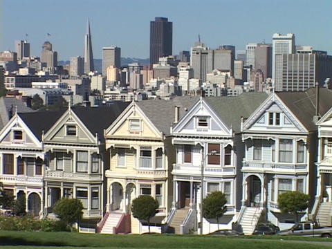 Houses crowd together in a Victorian neighborhood in San Francisco Footage