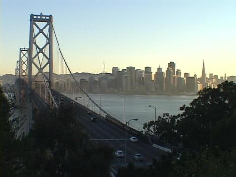 The Bay Bridge spans the San Francisco bay Stock Video Footage