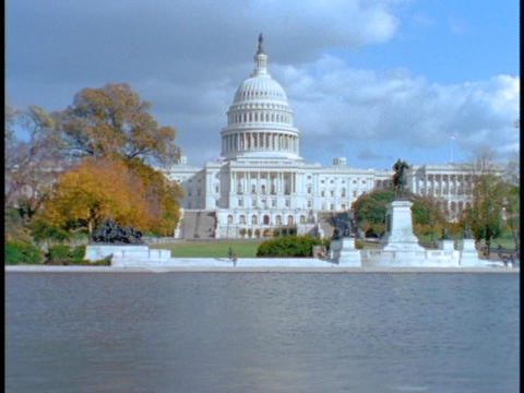 A Pond Reflects The US Capitol Building. stock footage