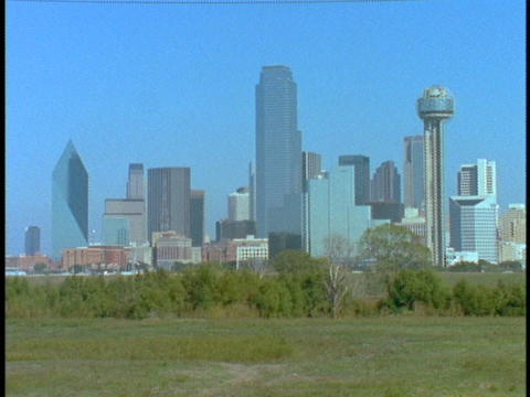Skyscrapers tower over Dallas Stock Video Footage