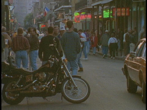 Tourist wander the French Quarter of New Orleans Footage