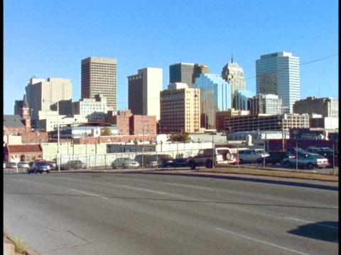 A freeway leads into downtown Oklahoma City Stock Video Footage