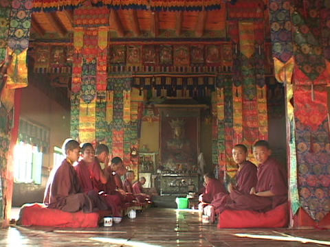Teen Buddhist monks talk in a monastery Stock Video Footage
