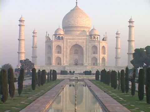 The Taj Mahal stands in Agra, India Footage