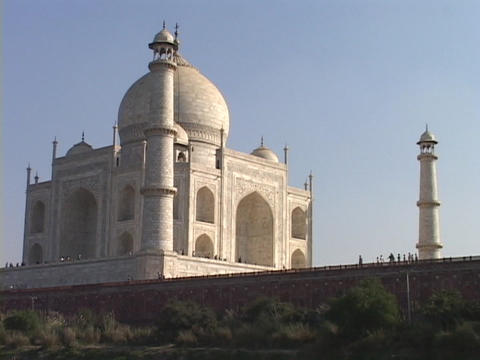 The sun shines on the Taj Mahal Footage