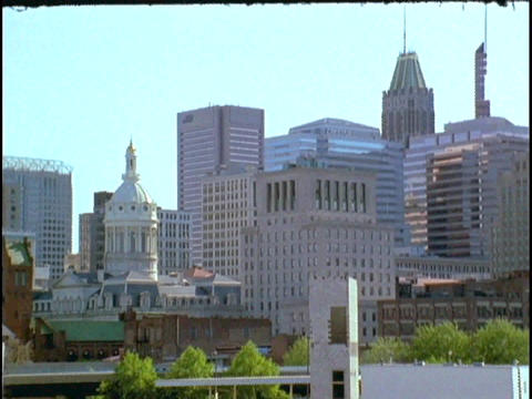 A freeway leads into downtown Baltimore Stock Video Footage