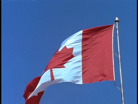 The Canadian flag blows in the breeze Footage