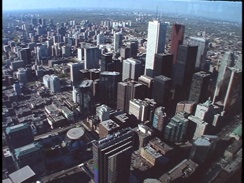 The CN Tower and a variety of skyscrapers tower above the... Stock Video Footage