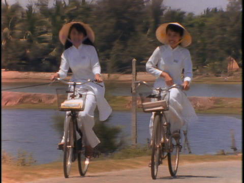 Vietnamese students ride bicycles Footage