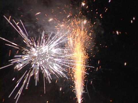 Fireworks explode in the sky Stock Video Footage
