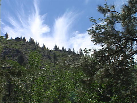 White clouds reach upward above wooded mountains Stock Video Footage