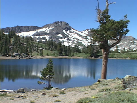 A mountain lake reflects a surrounding mountain and trees Stock Video Footage