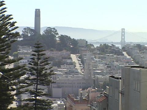 The Bay Bridge decorates the San Francisco, California... Stock Video Footage