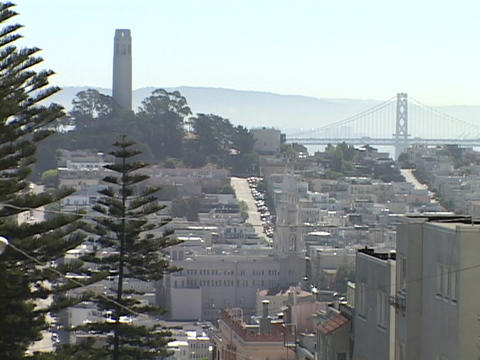 The Bay Bridge decorates the San Francisco, California... Stock Video Footage