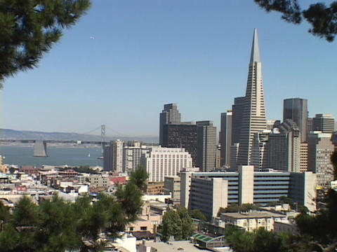 The TransAmerica building towers over the San Francisco, California skyline Footage