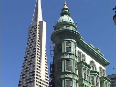 The TransAmerica Building towers over downtown San Francisco, California Footage