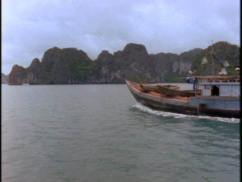 A Vietnamese fishing boat sails on the South China Sea Stock Video Footage