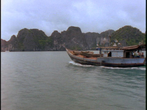 A Vietnamese fishing boat sails on the South China Sea Footage