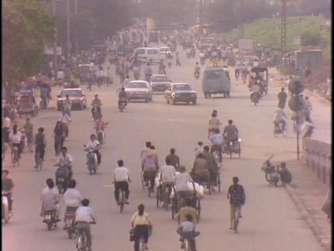 Bikes crowd a street in Hanoi, Vietnam Footage