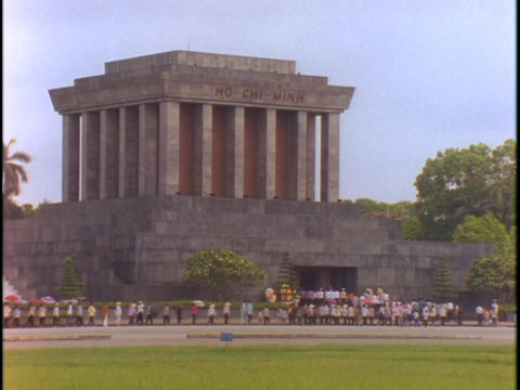 A line forms outside of the Ho Chi Minh Tomb in Hanoi, Vietnam Footage