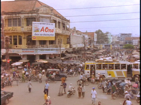 A large market in the district of Cholon, Saigon bustles with activity Footage