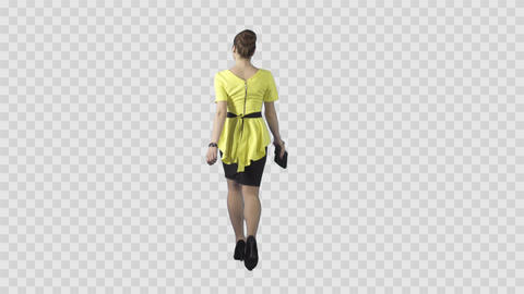 Attractive girl in the yellow is going from the camera. Transparent background Live Action