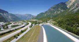 4K, Aerial, Flying along Autoroute De La Maurienne, France Footage