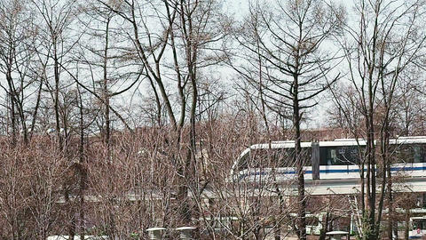 The Moscow monorail train in the area of VDNH exhibition Footage