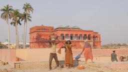 Construction worker and Baradari Picture gallery,Lucknow,India Footage