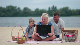 Family talking with grandparents using laptop Footage