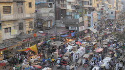 Busy spice market with busy street,New Delhi,India Footage