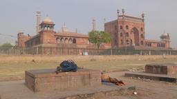 Men sleeping near Jama Masjid mosque,New Delhi,India Footage
