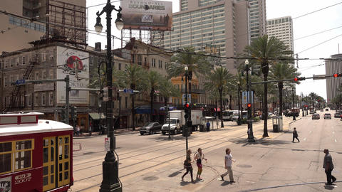 New Orleans trolley bus - street car on Canal Street - NEW ORLEANS, LOUISIANA -  Live Action