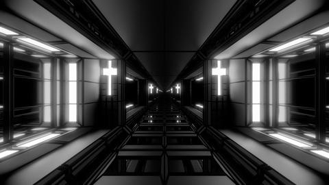 futuristic space sci-fi hangar tunnel corridor with nice reflections and holy Animation