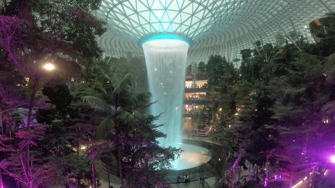 Singapore Changi Airport at night when the color Changes to colors Live Action