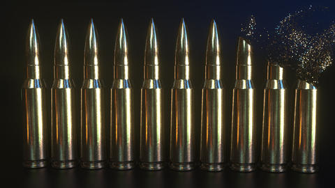 Total disintegration of rifle cartridges. Disarmament or military expenditures ビデオ