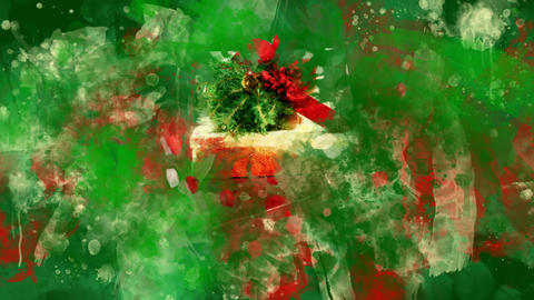 Watercolor Christmas decoration gift boxes on the background of colored blots GIF