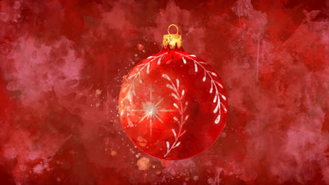 Watercolor Christmas decoration red ball on the back-ground of colored blots GIF
